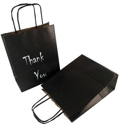 Thank You Printed or Clean Paper Birthday Gift Bags,Occasions,Black 18x8x21cm