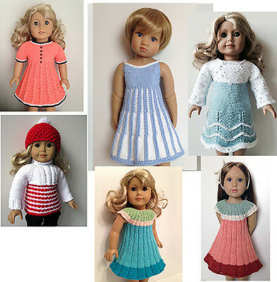 18 Doll Clothes Hand Knitting Pattern Sweater Dress Coat Hat For Ag