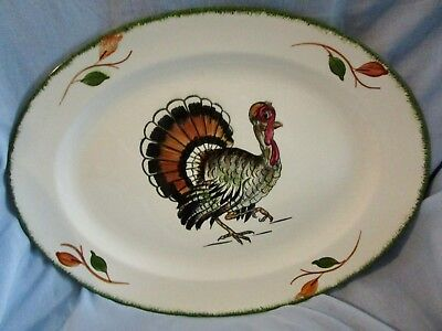 BLUE RIDGE SOUTHERN POTTERY Hand Painted LARGE OVAL THANKSGIVING TURKEY PLATTER