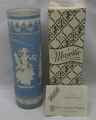 1970s Majestic Blue &White Sugar Coated Microbeads Glass Cylinder Candle Goddess