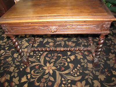 Antique Single Drawer Entry Desk With Barley Twist Legs