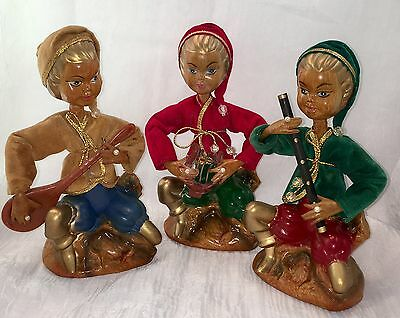 Vtg 50's Christmas Tilso Golden Fantasy Pixie Elves & Musical Instruments-Estate