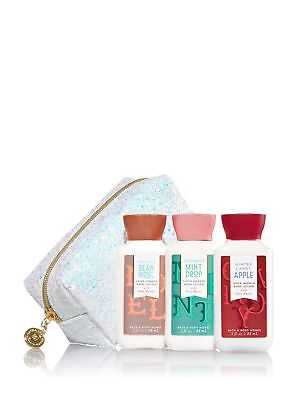 Bath and Body Works Glittery With Iridescent Glitter And A Gold Zipper Gift Bag