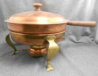 Vintage Copper Warming Pot Set Brass Chafing Dish Fondue Set Stand ITALY