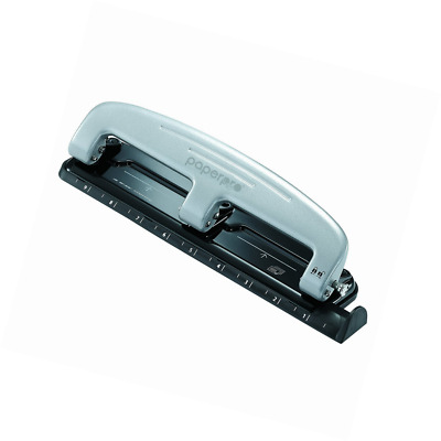 PaperPro inPRESS 12 Reduced Effort Three-Hole Punch, Silver/Black (2101)