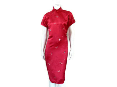 1950's Cheongsam Qipao Hot Pink Satin Brocade Dress with Flying Cranes Vintage