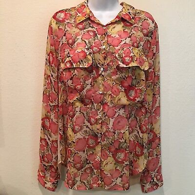 NWT Kut from the kloth Sheer Floral Front Solid Back Top Sz Large, Multi-Color