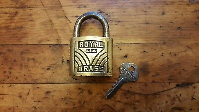 Vintage Heavy Brass Royal Padlock w/ Steel Hasp and Working Slaymaker Key