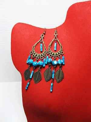 Antique Bronze Chandelier Dangling Earrings, Bead Earrings, Vintage Style