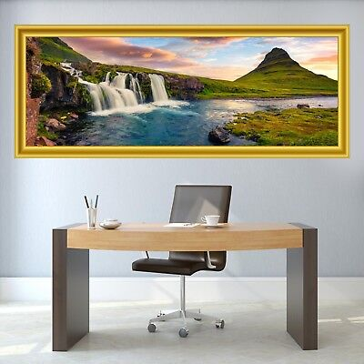 Waterfall Mountain Sunset Landscape 3D Panoramic Wall Sticker Mural Decal CZ22