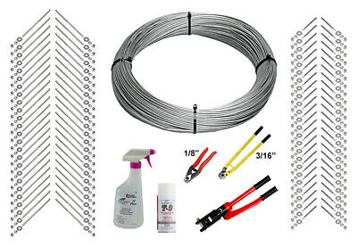 """Full Deck Cable Rail Kit - 1000ft Cable, 3/16"""" End Fittings, & Tool (Wood Post)"""
