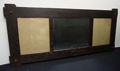 Very Nice Large Mission Oak Arts & Crafts Three Panel Picture Frame w/ Mirror