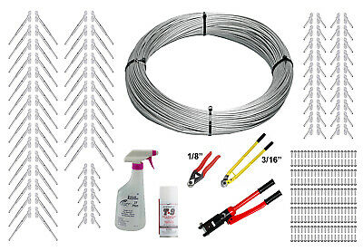 """Full Surface Mount Cable Railing Kit - 1000ft Cable, 3/16"""" End Fittings, & Tools"""