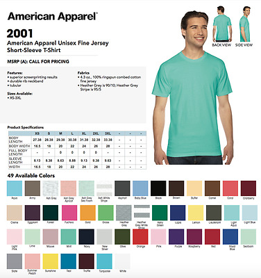 50 Blank American Apparel 2001 Fine Jersey T-Shirt Lot ok to mix XS-XL & Colors