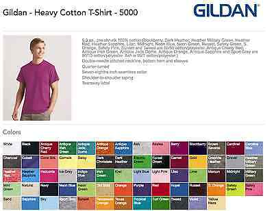100 Gildan T-SHIRTS in COLORS or 112 WHITE BLANK BULK LOT S-XL 10 20 50 72 116