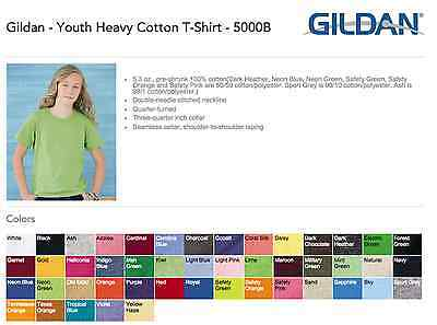 Gildan Heavy Cotton Youth T-Shirts Bulk Lot Colors or White XS-XL Wholesale Kids
