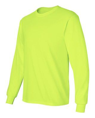 3 Gildan Long Sleeve SAFETY GREEN Adult High Visibility T-Shirts Sizes: S-5XL