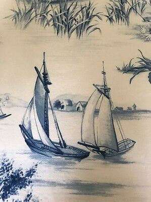 "Pair of Vintage Blue Toile Nautical Asain Curtain Panels 49"" x 86"" Lined 2 Avail"