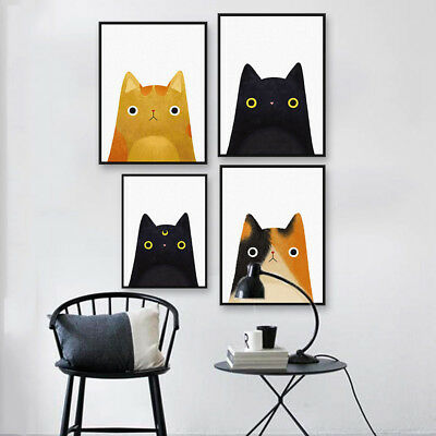 EG_ Cartoon Cat Canvas Wall Painting Poster Craft Kids Room Art Home Decor Eyefu