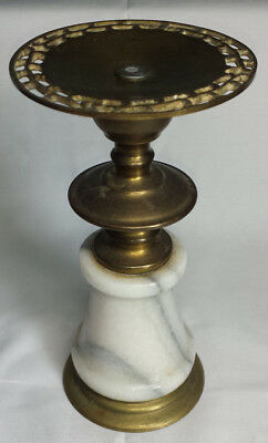 Vintage Candle Holder Pillar Gold Toned ? Marble and Brass ?