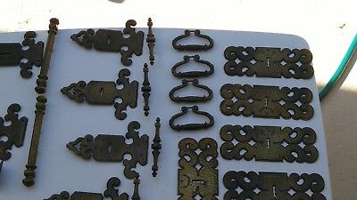 Lot Of 21 Vtg Furniture Brass  Key Hole Escutcheon Plates W/ Pulls/ Exta Plates