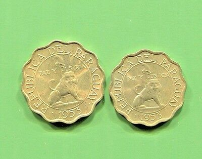 Paraguay - Two Beautiful 1953 Coins, 15 And 25 Centavos