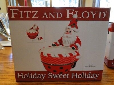 Nib Fitz & Floyd Holiday Sweet Holiday Bowl With Spreader  - Collectible