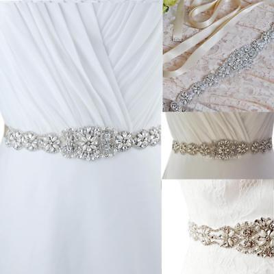Vintage Crystal Pearls Flower Applique Sash Wedding Bridal Dress Sash Belt 5cm