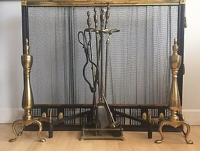 """Antique Solid Brass/Iron Fireplace Screen w/Andirons And Tools Set 38""""x31"""""""