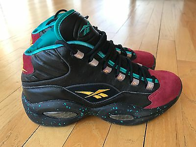15a9f6fd47c49f Reebok Question 1 One Mid Detroit Burn Rubber Black Garnet Teal AI J95560  8.5