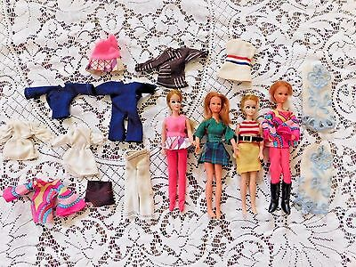 Collection Of Four Vintage Dawn Dolls And Friends By Topper W Clothes And Boots