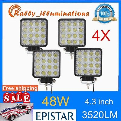 4PCS 48W 12V 24V LED Work Light spot beam OffRoad ATV SUV Car Boat Jeep truck US