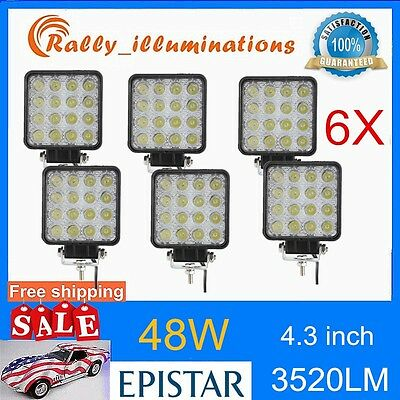 6X 48W LED Work Light SPOT OffRoad SUV Car Boat Jeep truck 12V 24V 4.3INCH 4X4WD