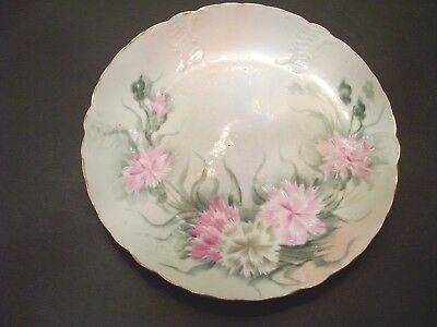 """Beautiful Hand Painted 8"""" Dia.Plate by Sevres-Floral Design """"Dianthus-Carnation"""""""