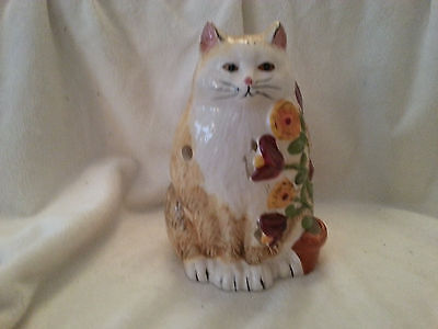 Ceramic yellow cat and flowers candle holder  #  1753
