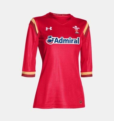 UA 2015-2016 Wales Rugby Home WRU Women's Supporters Shirt Red 1260346600 Size S