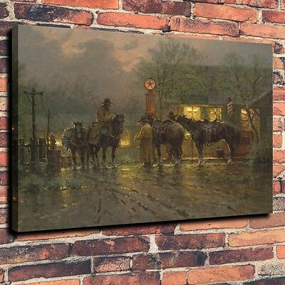Home Deco Art Quality Canvas Print, Oil Painting Western, Cowboy, Meeting,16x20