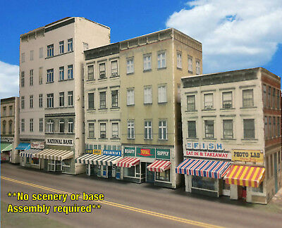 Z Scale Buildings - Downtown apartments with shops  Cardstock kit set CZ017