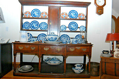 Reduced! Antique 18Th Cent. Welsh Oak Cupboard/Dresser/Side Board/Buffet W/Rack