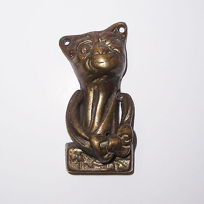 Rare Vintage Antique Brass Bronze Grinning Cheshire Cat Bedroom Door Knocker