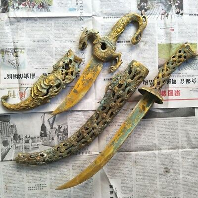 (2)In ancient China, gold-plated brass sword dragon pattern to ward off bad luck