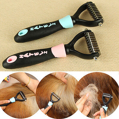 Cute Dog Pet Fur Dematting Grooming Deshedding Trimmer Tool Comb Brush 10 Blades