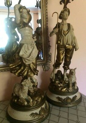 Vintage French Figural Collection Franchaise Pair Of Lamps Shepherds