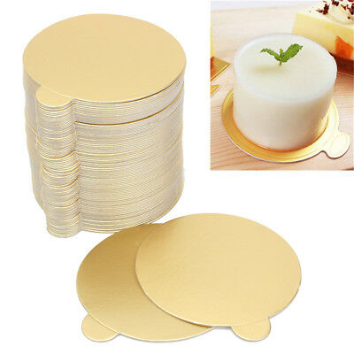 100X Round Cake Board Disposable Paper Plates Mousse Cupcake Displays Tray 8CM