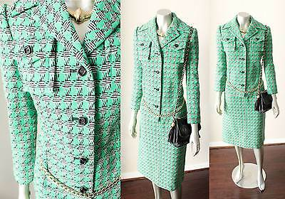 Designer Tartan 100% Wool Vintage 70s Blazer Skirt Dress Suit Button S+M