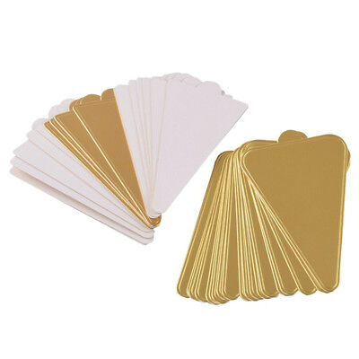 50pcs Triangle Cake Board Golden Paper Plates Mousse Cupcake Displays Tray OZ