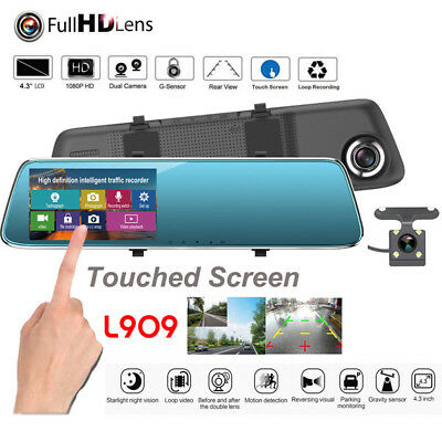 "4.3"" HD 1080P Dual Lens Car Dash Cam DVR Rear View Mirror Video Camera Recorder"