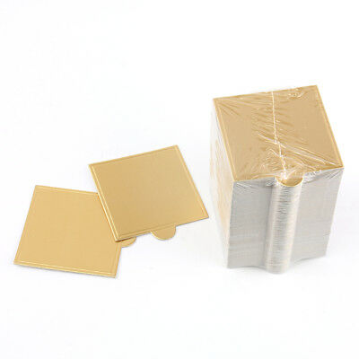 50pcs Square Golden Paper Cake Board Disposable Plates Cupcake Displays Tray OZ