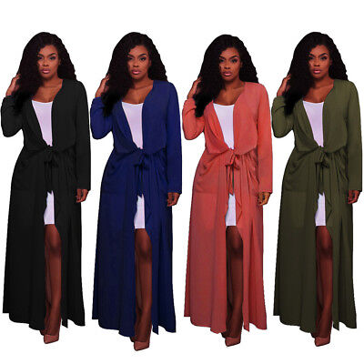 Women Ladies Long Sleeve Floaty Open Front Chiffon Cardigan Kimono Maxi Coat