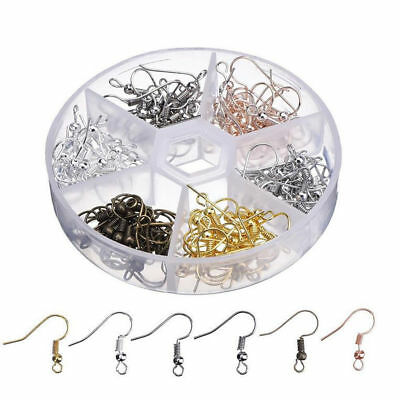 120Pcs Earring Hooks Ear Wires Stainless Steel Fish Hook with Storage Case WF